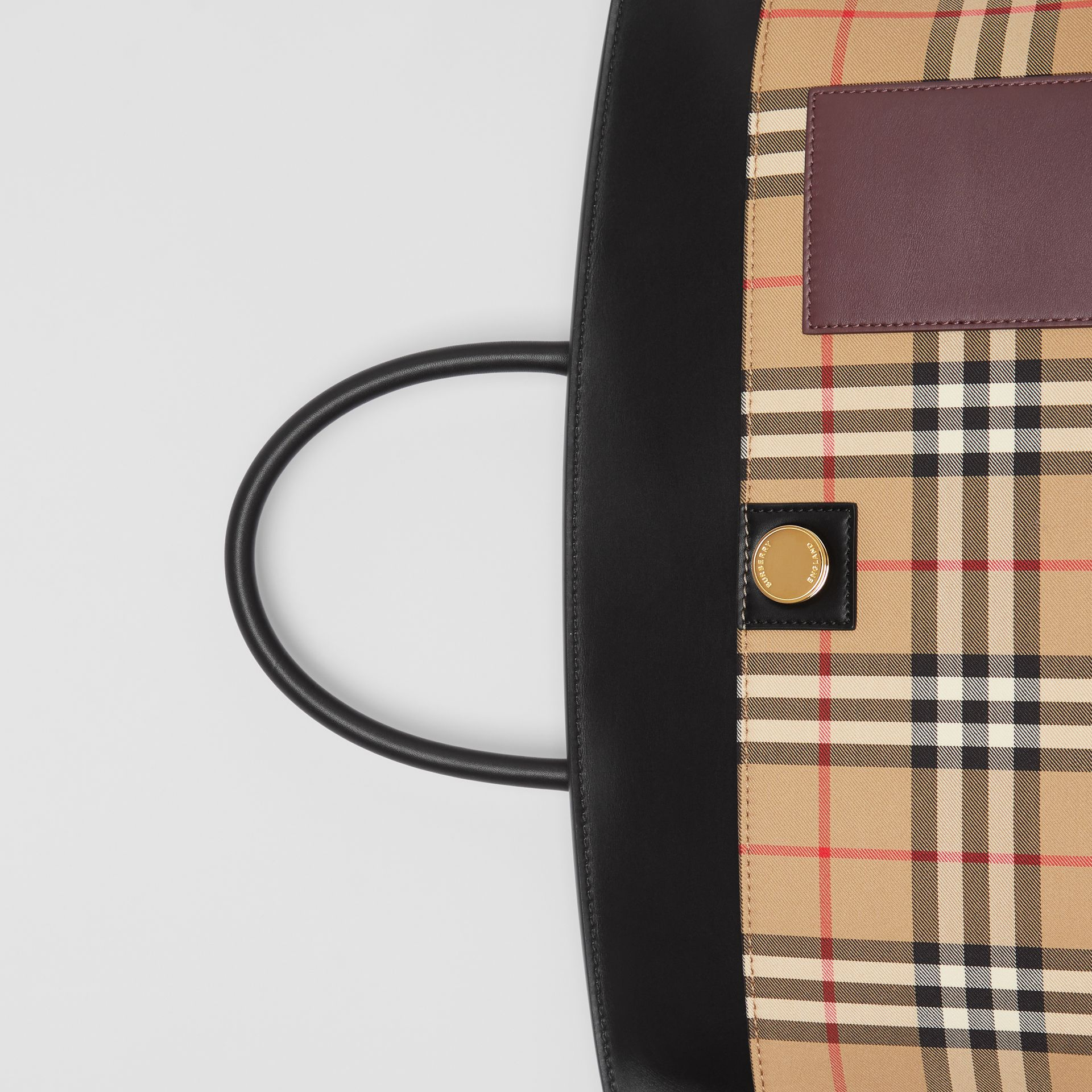 Vintage Check and Leather Society Top Handle Bag in Archive Beige - Women | Burberry - gallery image 1