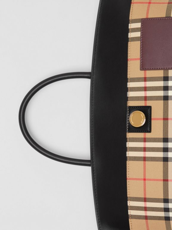 Vintage Check and Leather Society Top Handle Bag in Archive Beige - Women | Burberry United States - cell image 1