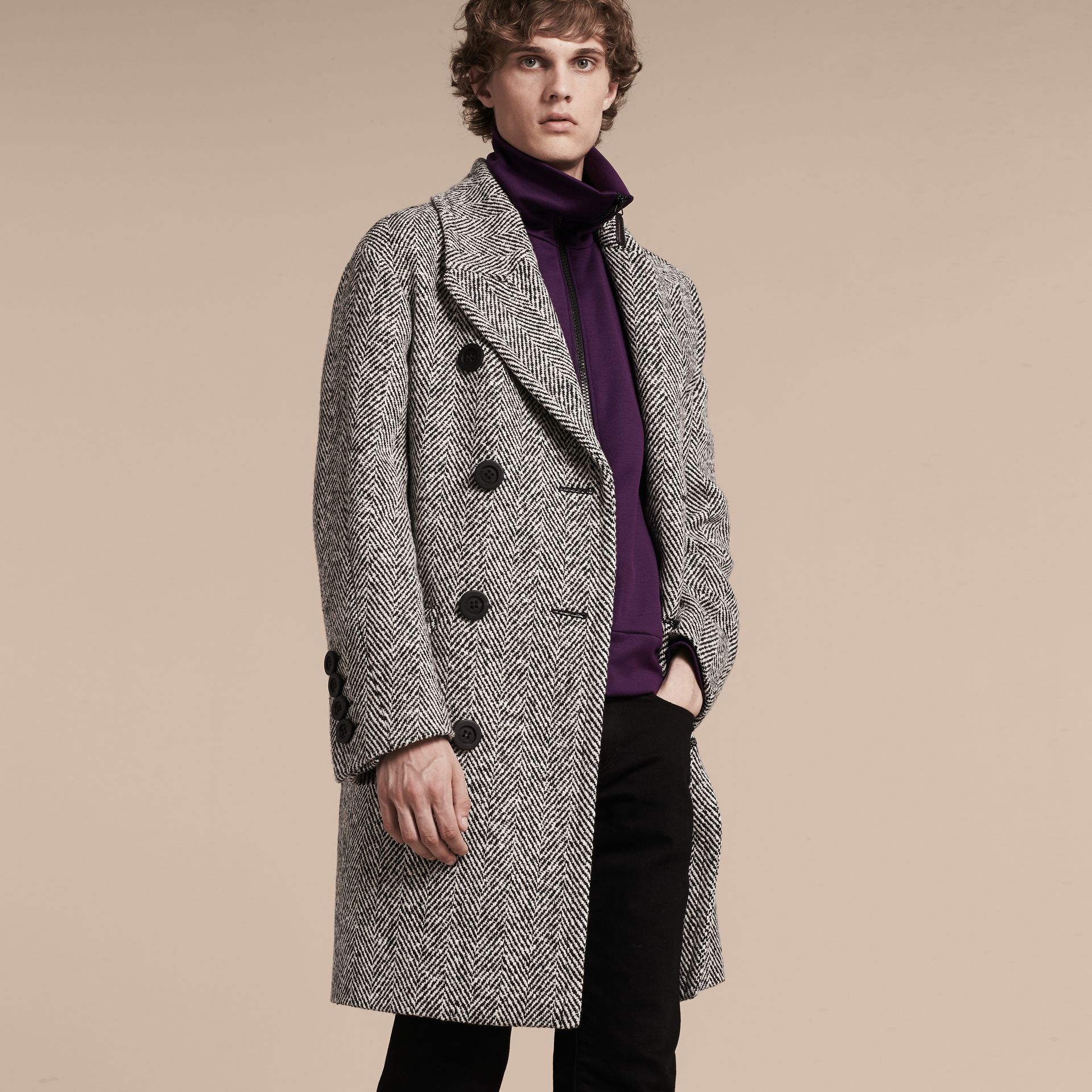 Black/white Herringbone Wool Topcoat - gallery image 7