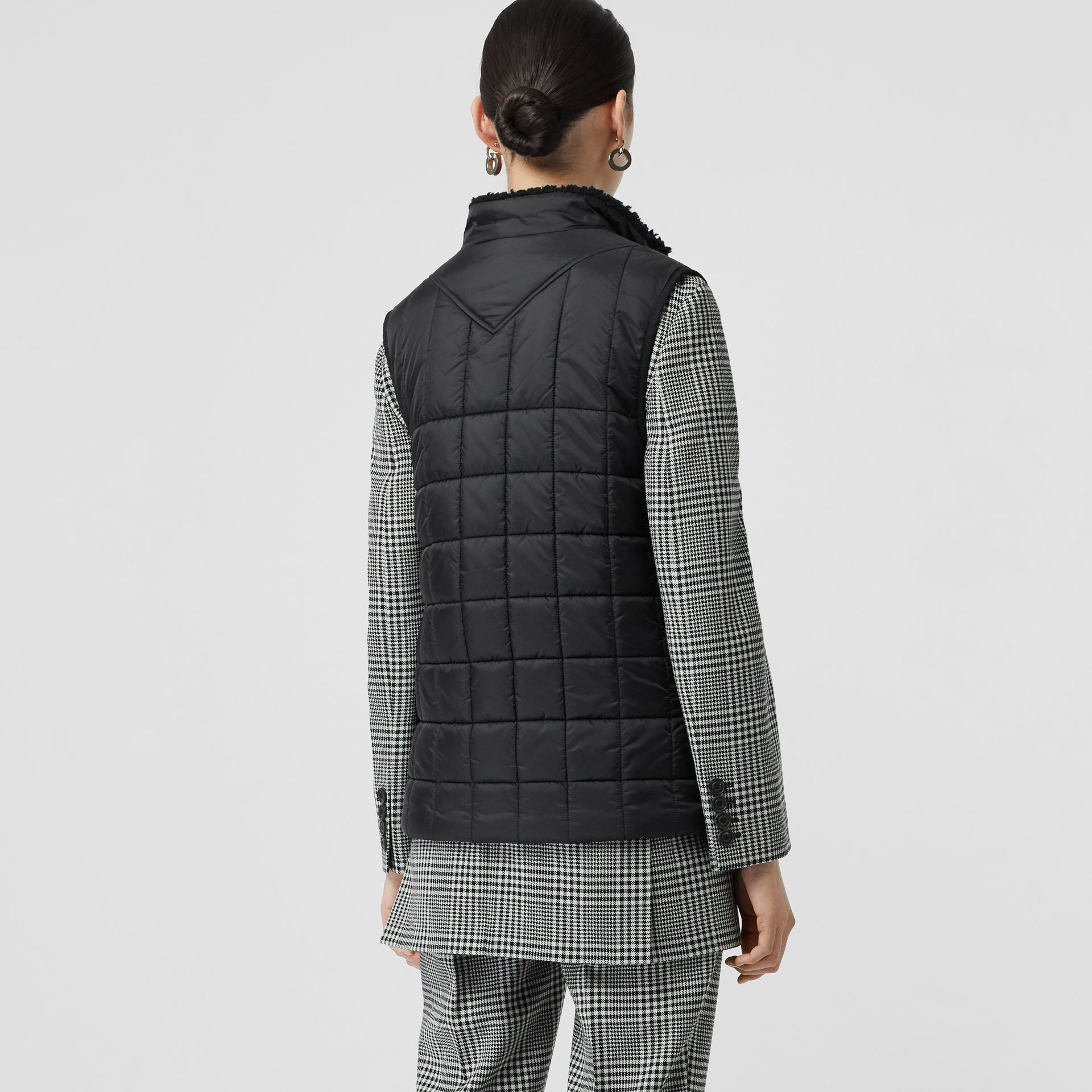 Faux Shearling Collar Lightweight Quilted Gilet in Black - Women | Burberry - gallery image 2