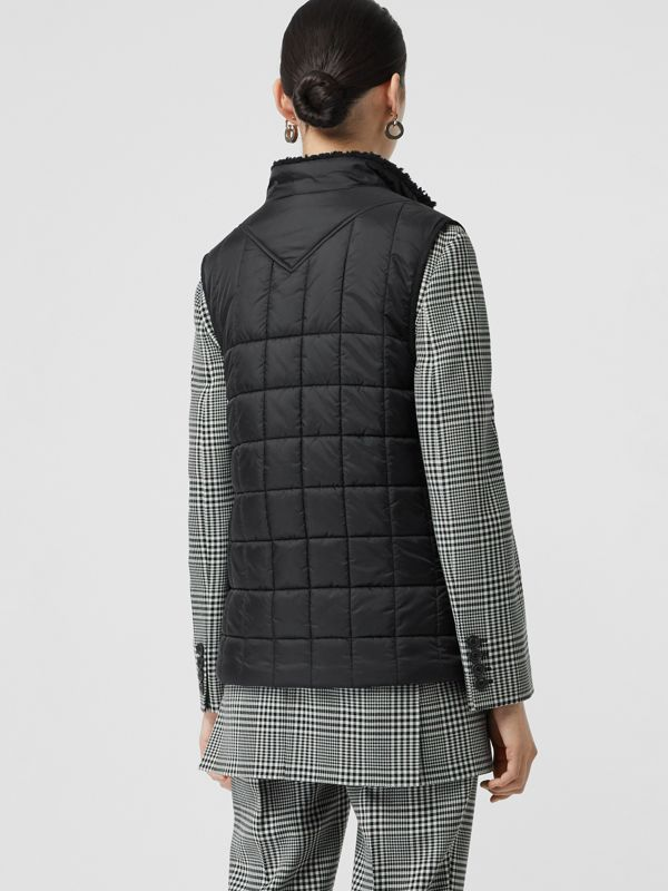 Faux Shearling Collar Lightweight Quilted Gilet in Black - Women | Burberry - cell image 2