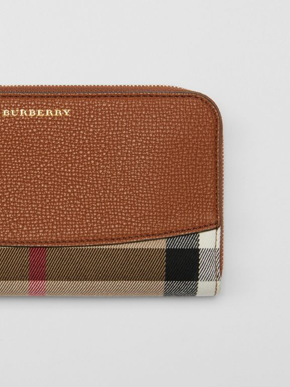 House Check and Leather Ziparound Wallet in Brown Ochre - Women | Burberry - cell image 1