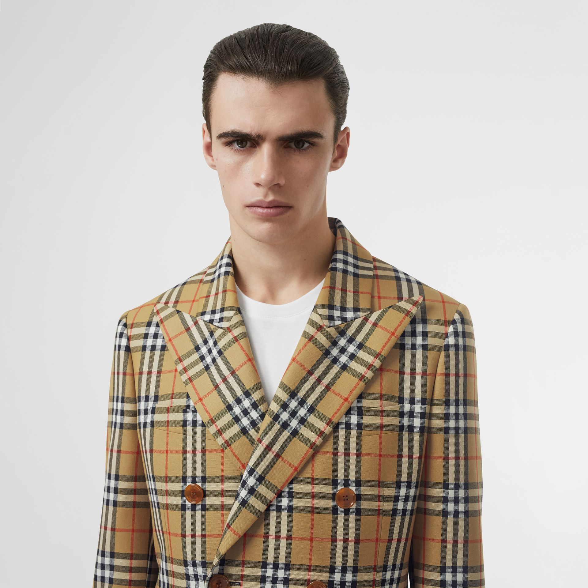 Vintage Check Wool Double-breasted Jacket in Antique Yellow | Burberry Australia - gallery image 1