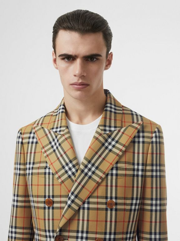 Vintage Check Wool Double-breasted Jacket in Antique Yellow | Burberry Australia - cell image 1