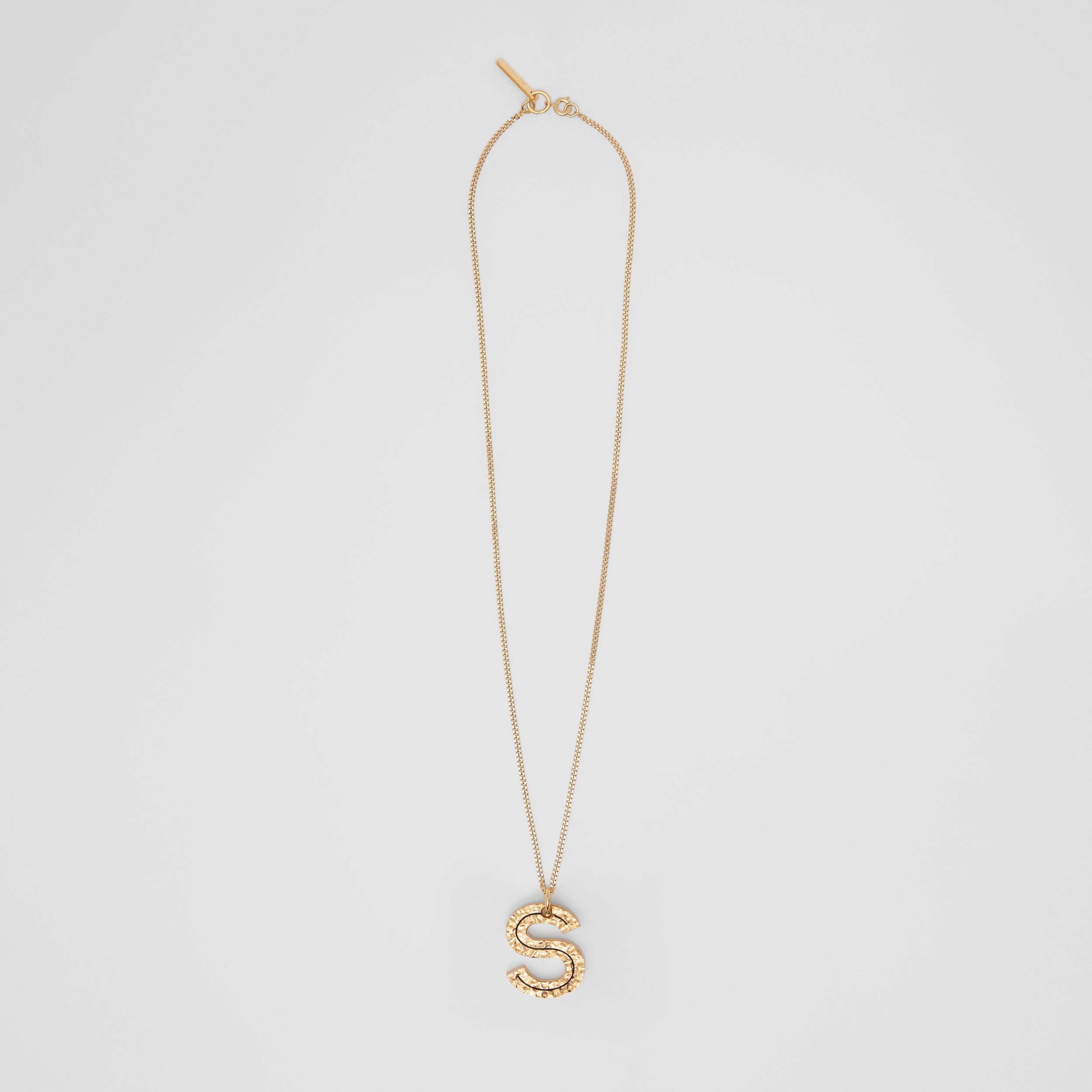 'S' Alphabet Charm Gold-plated Necklace in Light - Women | Burberry - 1