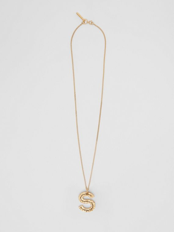 'S' Alphabet Charm Gold-plated Necklace in Light