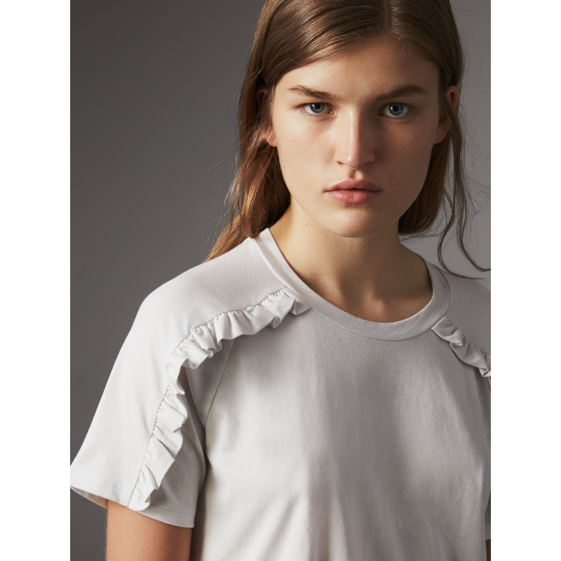 Ruffle Detail Cotton Jersey T-shirt in Winter White - Women | Burberry - gallery image 1