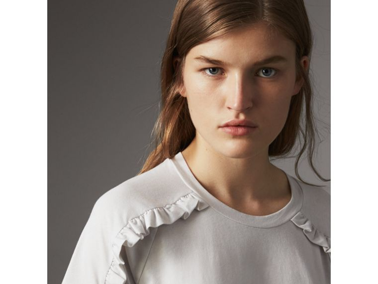 Ruffle Detail Cotton Jersey T-shirt in Winter White - Women | Burberry - cell image 1