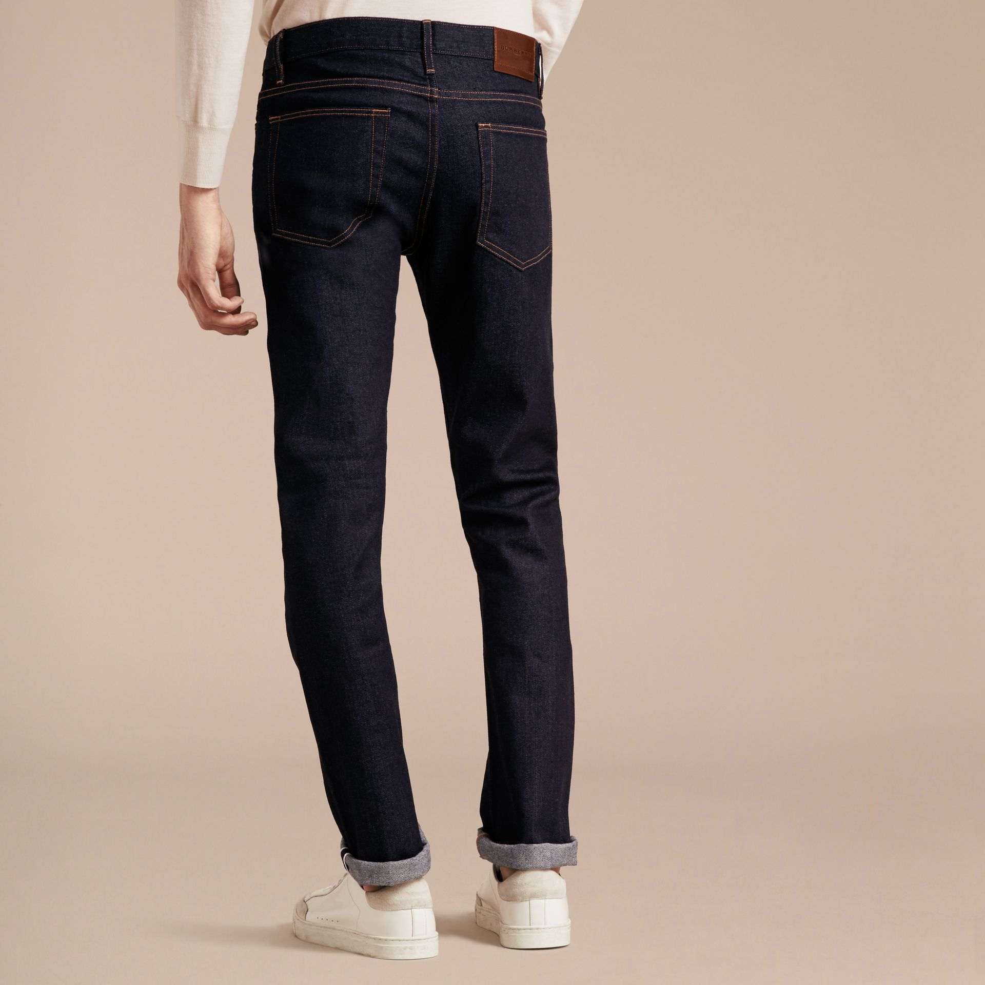Straight Fit Stretch Japanese Selvedge Denim Jeans - Men | Burberry - gallery image 3