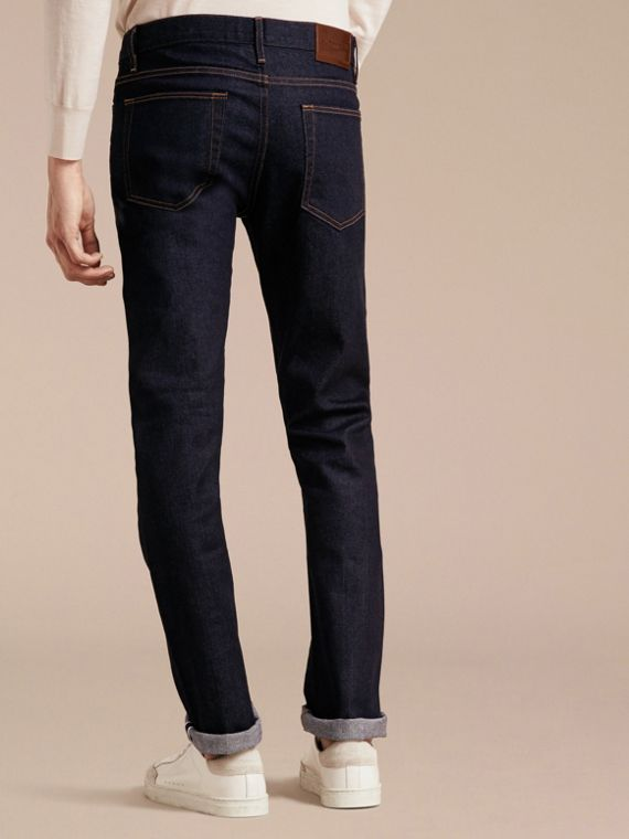 Straight Fit Stretch Japanese Selvedge Denim Jeans in Dark Indigo - Men | Burberry - cell image 2