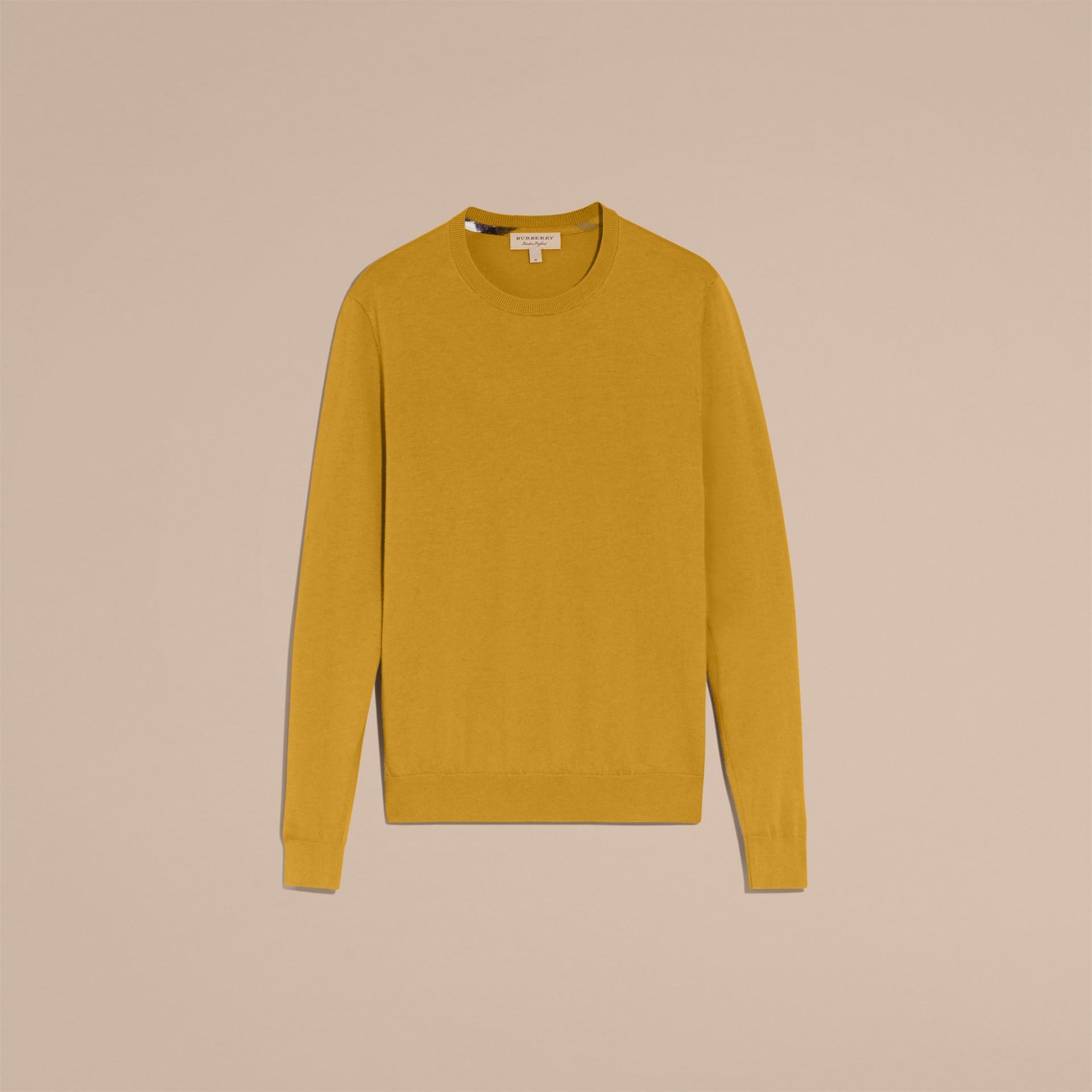 Lightweight Crew Neck Cashmere Sweater with Check Trim Cornflower Yellow - gallery image 4