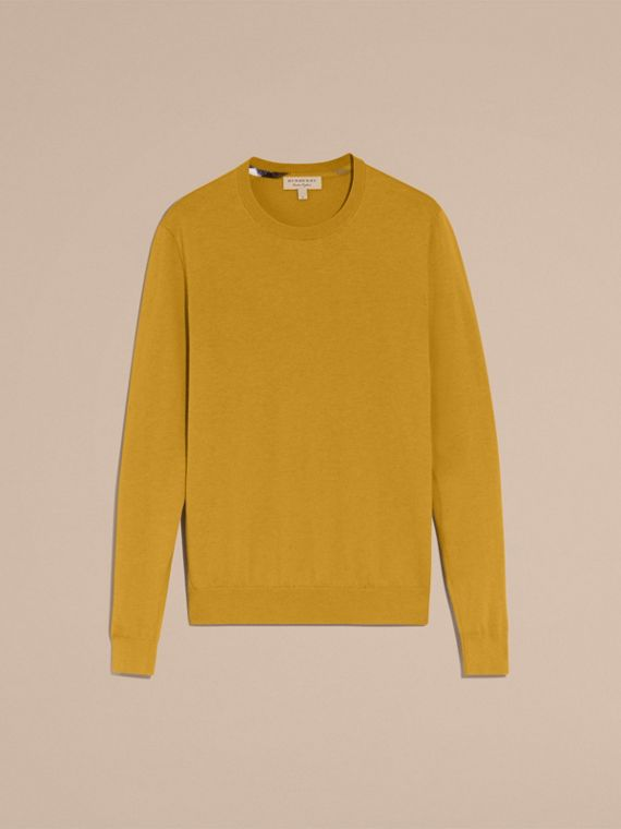 Lightweight Crew Neck Cashmere Sweater with Check Trim Cornflower Yellow - cell image 3