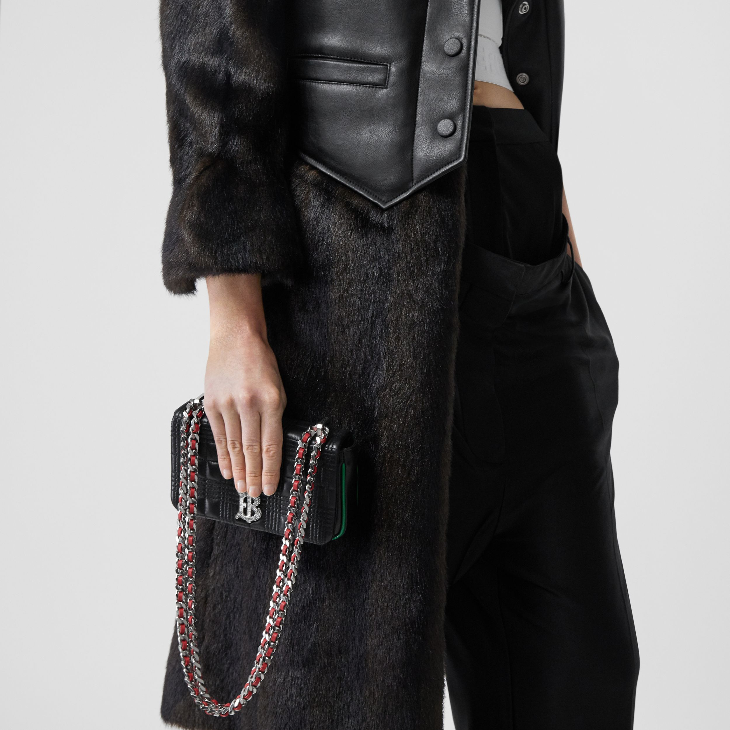 Mini Quilted Lambskin Lola Bag in Black - Women | Burberry - 3
