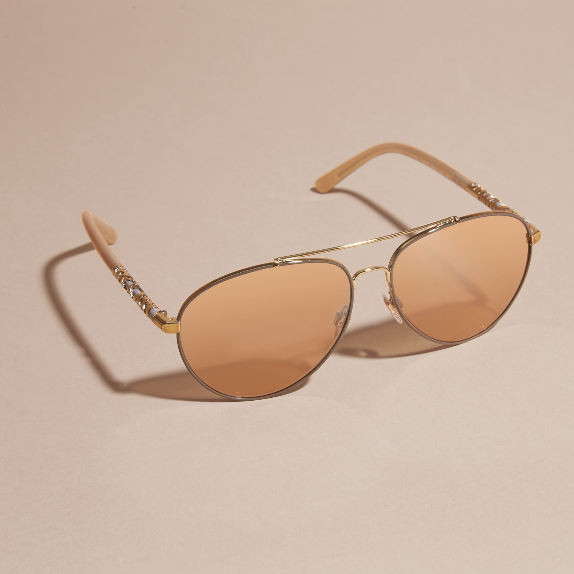 Check Detail Pilot Sunglasses in Pale Gold - Women | Burberry - gallery image 2