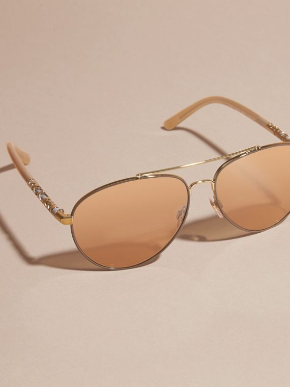 Check Detail Pilot Sunglasses in Pale Gold - Women | Burberry - cell image 2