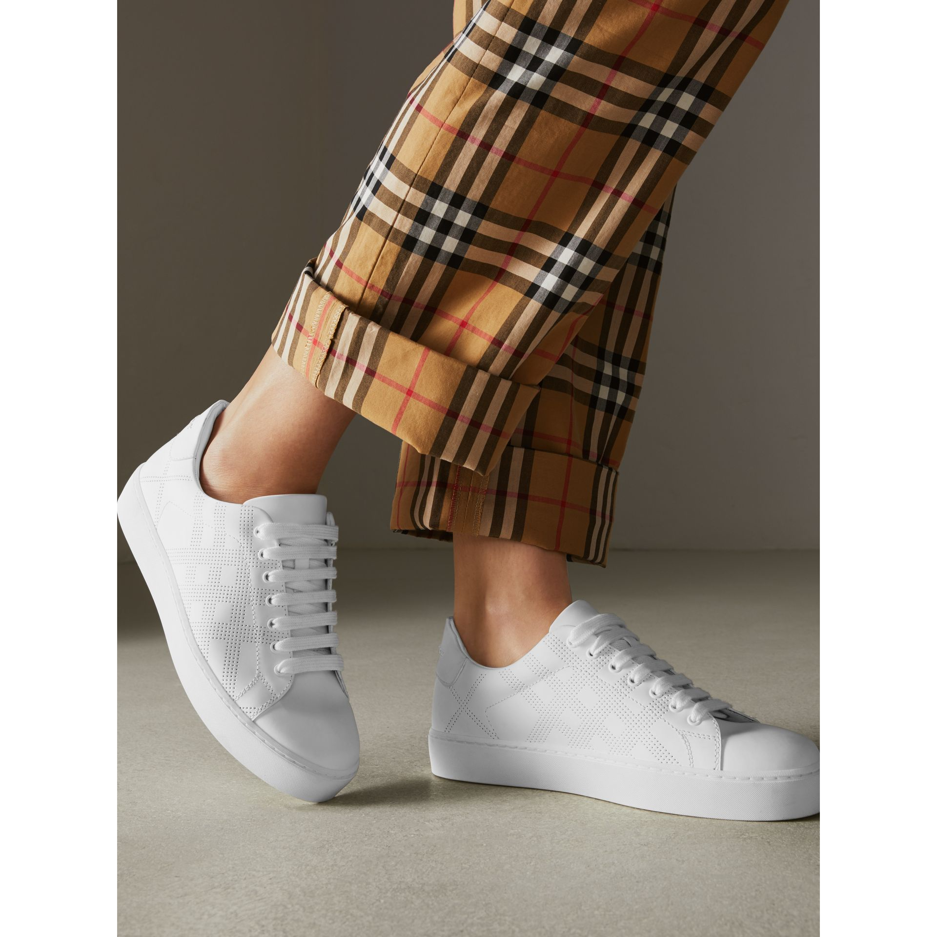 Perforated Check Leather Sneakers in Optic White - Women | Burberry Australia - gallery image 2