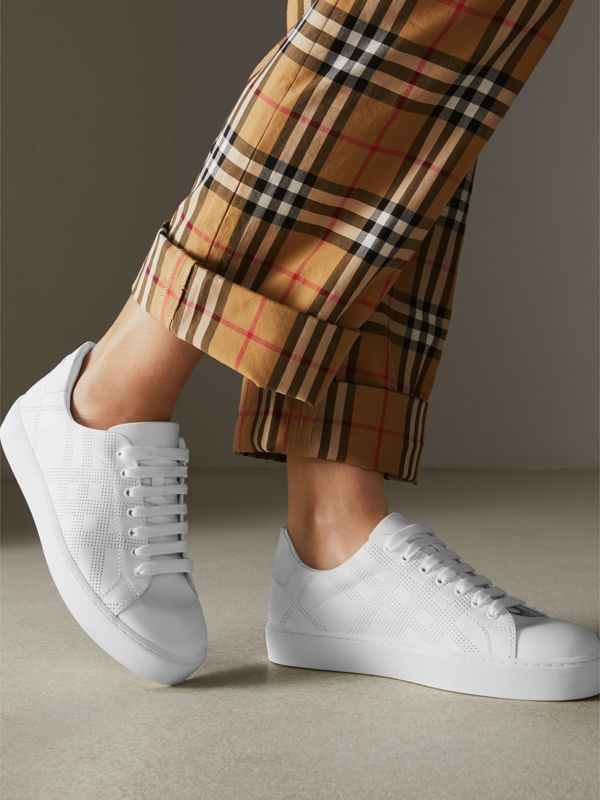 Perforated Check Leather Sneakers in Optic White - Women | Burberry Australia - cell image 2