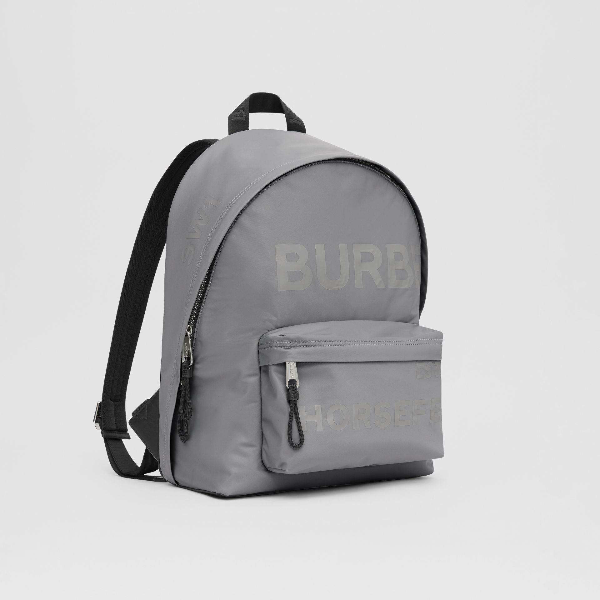 Horseferry Print ECONYL® Backpack in Cloud Grey | Burberry United States - gallery image 8