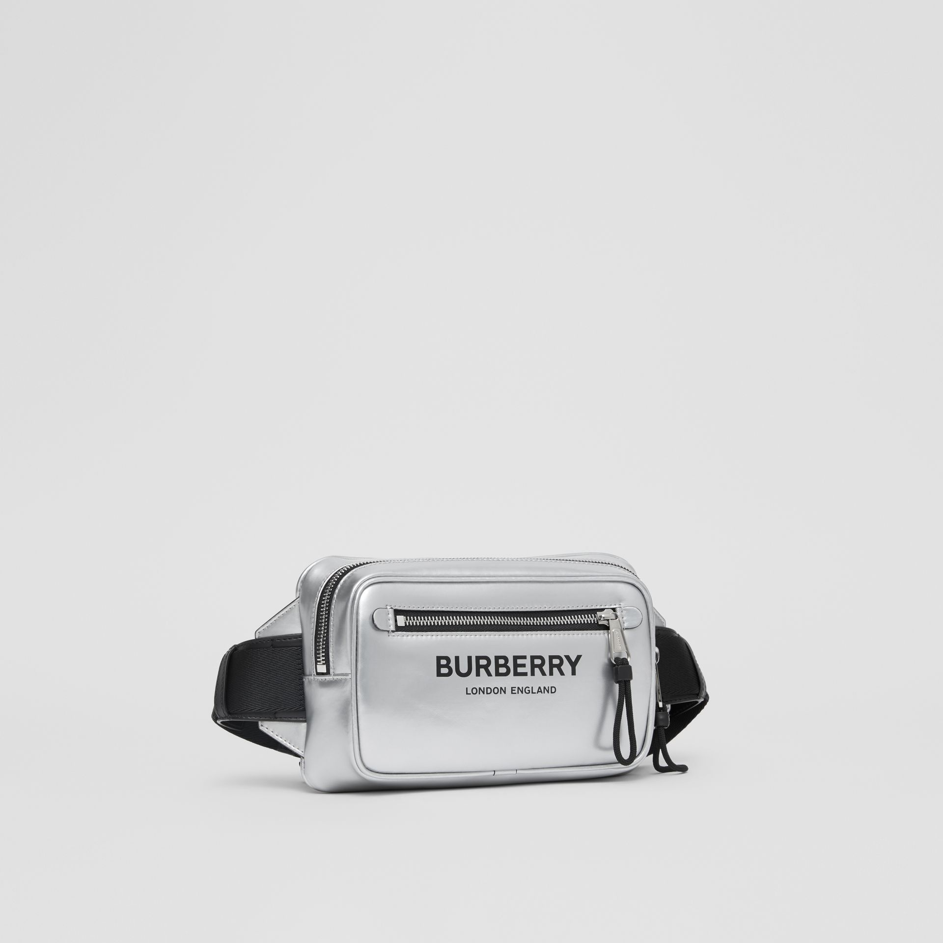 Metallic Coated Canvas Bum Bag in Silver - Men | Burberry - gallery image 4