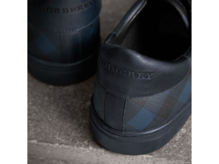 Check Detail Leather Trainers in Navy - Men | Burberry - cell image 1