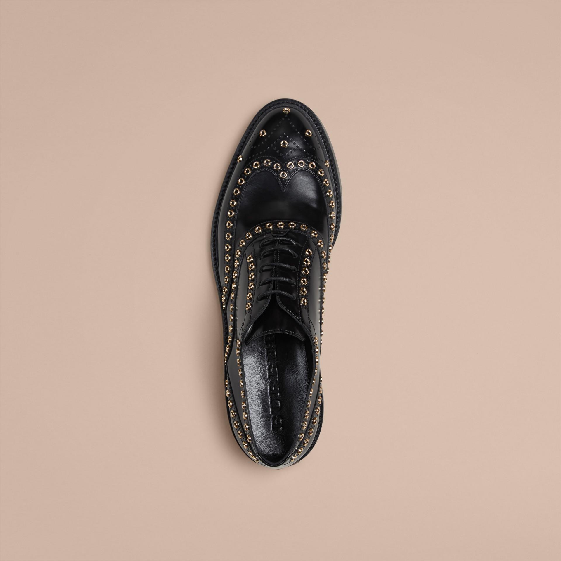 Noir Chaussures Richelieu en cuir orné d'œillets avec bout golf (exclusivité en ligne) - photo de la galerie 3