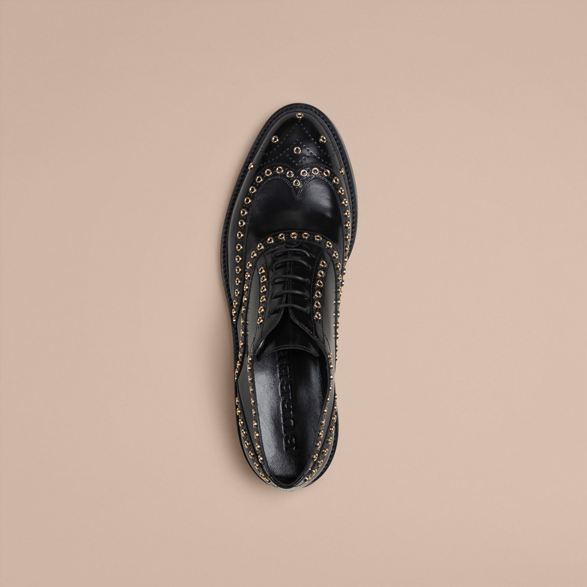 Black Online Exclusive Eyelet Detail Leather Wingtip Brogues - gallery image 3