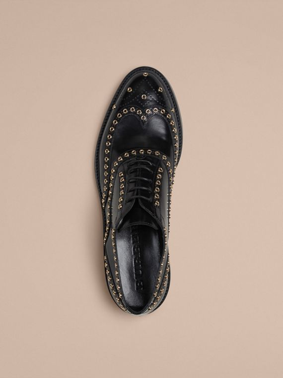 Black Online Exclusive Eyelet Detail Leather Wingtip Brogues - cell image 2
