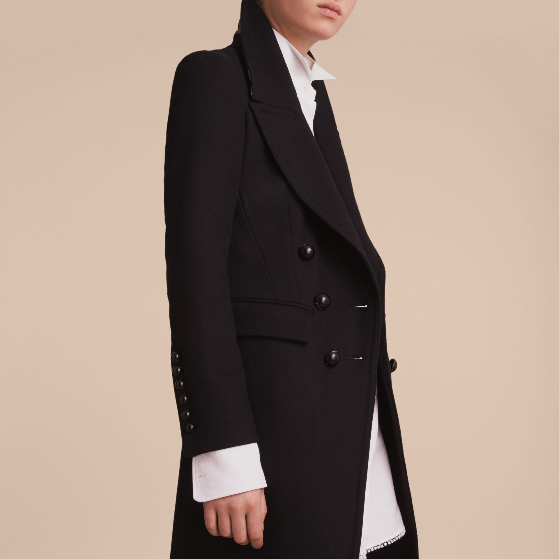 Wool Blend Double-breasted Coat in Black - Women | Burberry Canada - gallery image 5