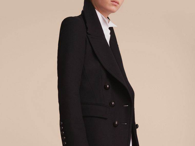 Wool Blend Double-breasted Coat in Black - Women | Burberry - cell image 4