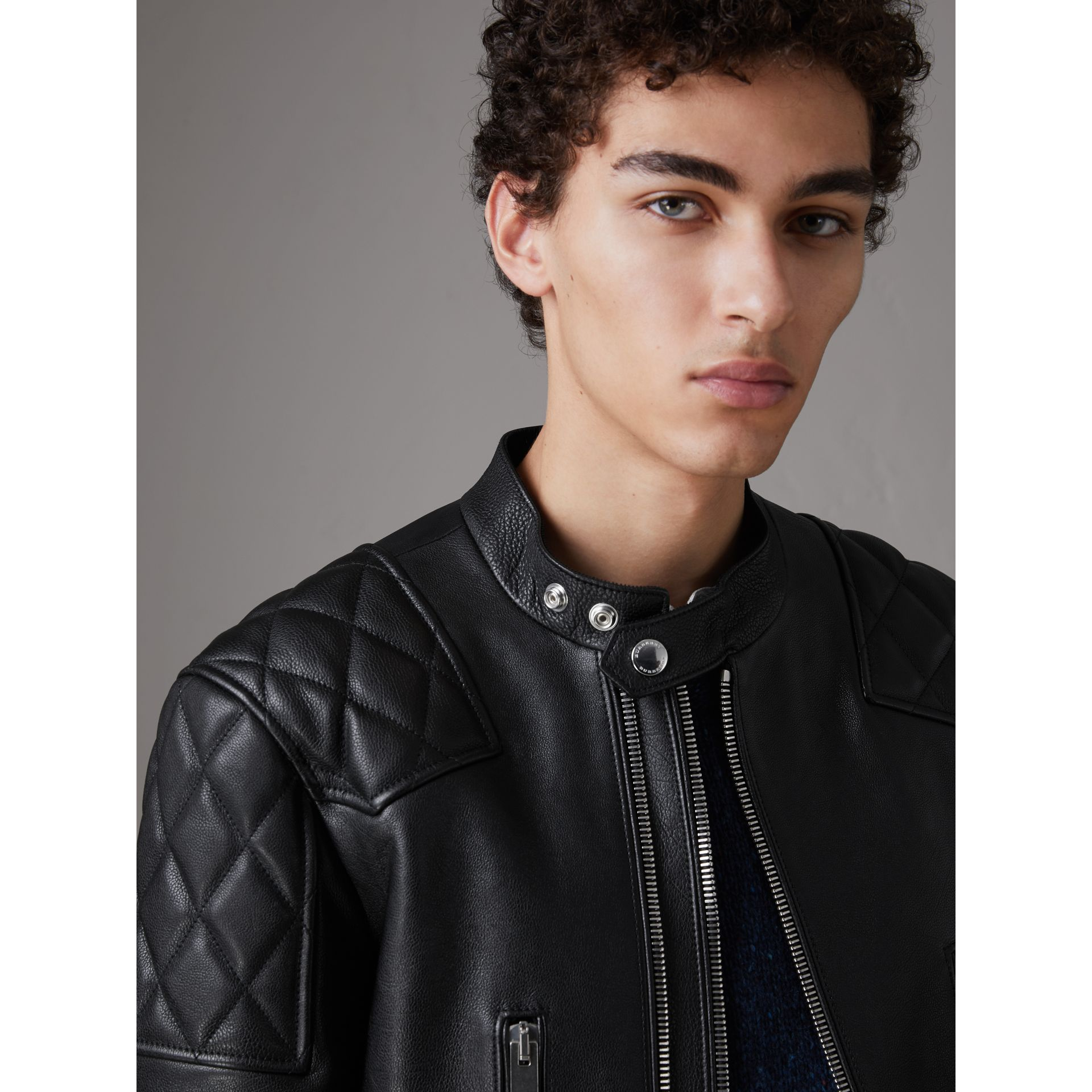 Diamond Quilted Detail Leather Biker Jacket in Black - Men | Burberry - gallery image 1