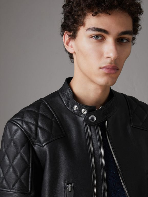 Diamond Quilted Detail Leather Biker Jacket in Black - Men | Burberry - cell image 1
