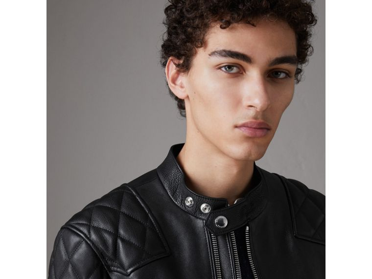 Diamond Quilted Detail Leather Biker Jacket in Black - Men | Burberry United Kingdom - cell image 1
