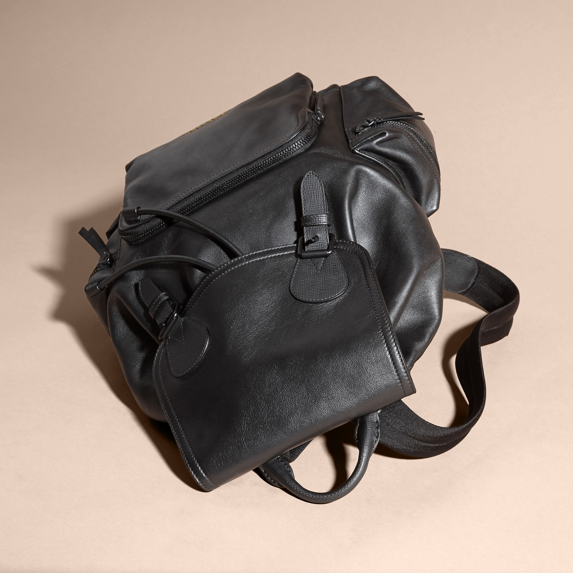 The Large Rucksack in Water-repellent Leather in Black - gallery image 4