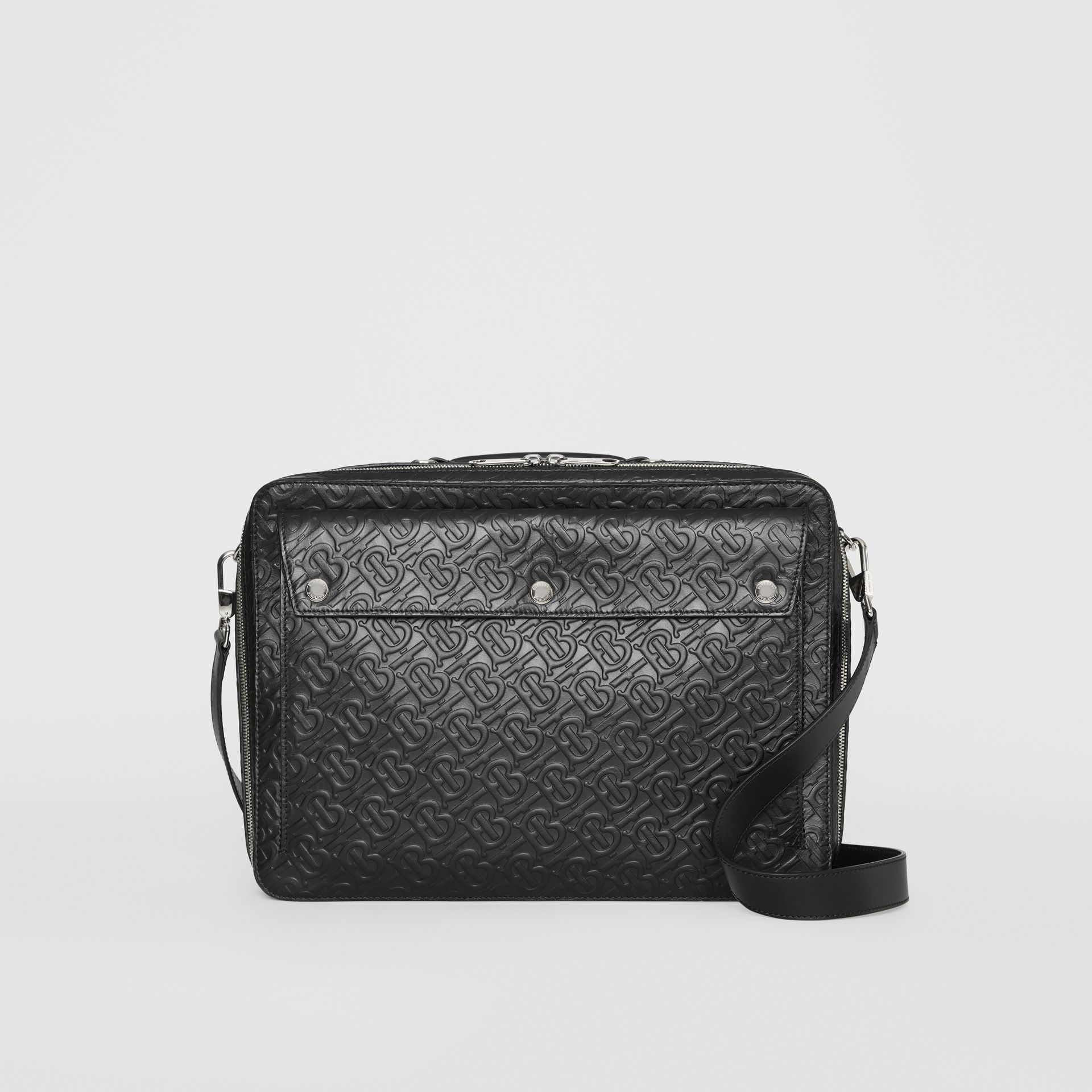 Triple Stud Monogram Leather Briefcase in Black - Men | Burberry Canada - gallery image 0