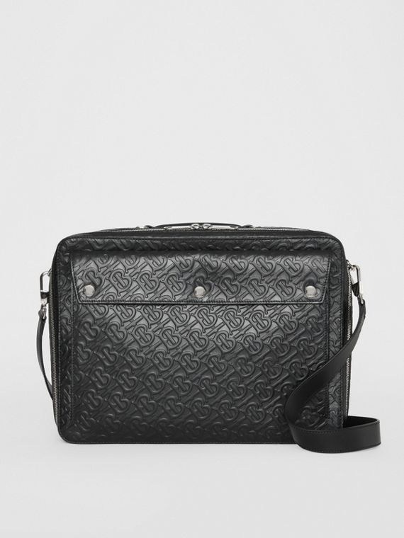 Triple Stud Monogram Leather Briefcase in Black