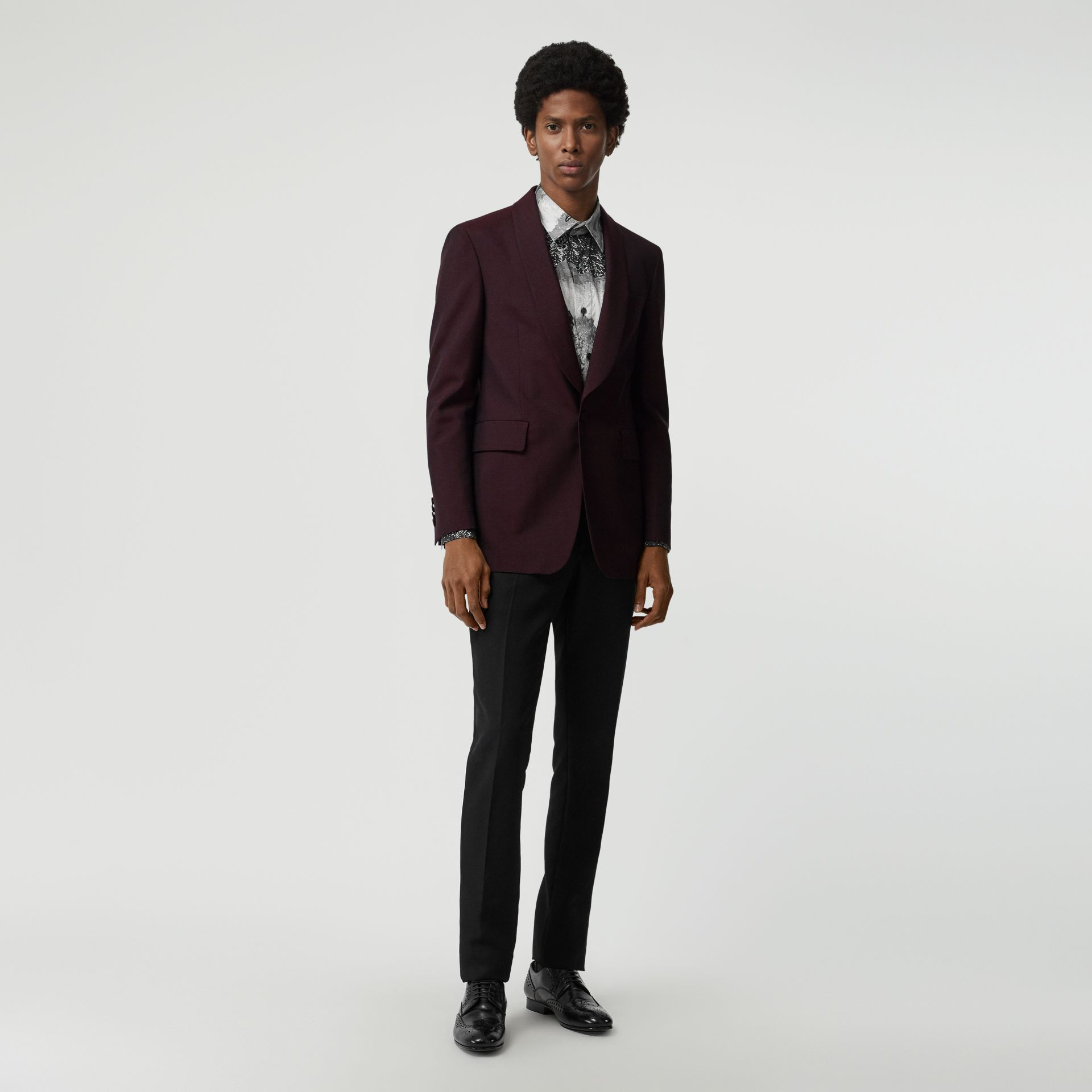 Classic Fit Mohair Evening Jacket in Deep Burgundy - Men | Burberry - gallery image 0