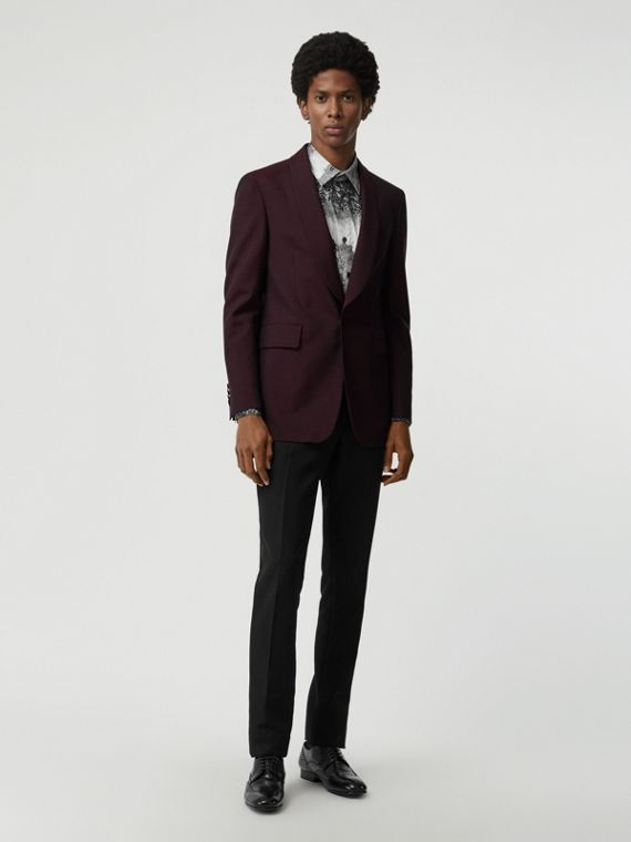 Classic Fit Mohair Evening Jacket in Deep Burgundy
