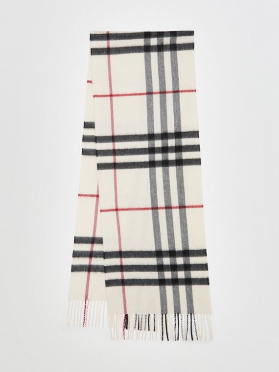 The Classic Check Cashmere Scarf in White