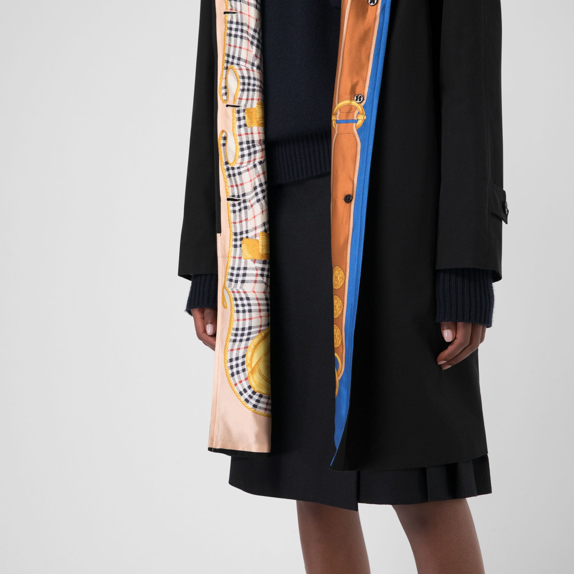 Archive Print-lined Tropical Gabardine Car Coat in Black - Women | Burberry Australia - gallery image 1