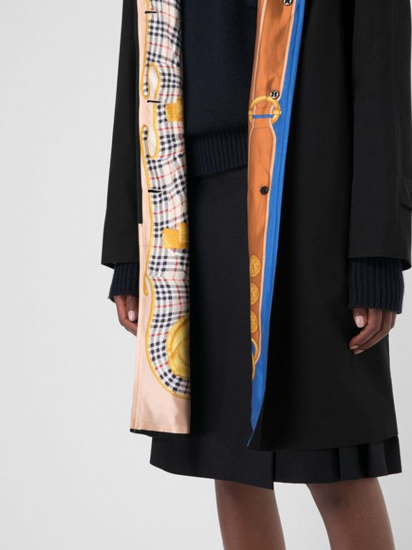 Archive Print-lined Tropical Gabardine Car Coat in Black - Women | Burberry Australia - cell image 1