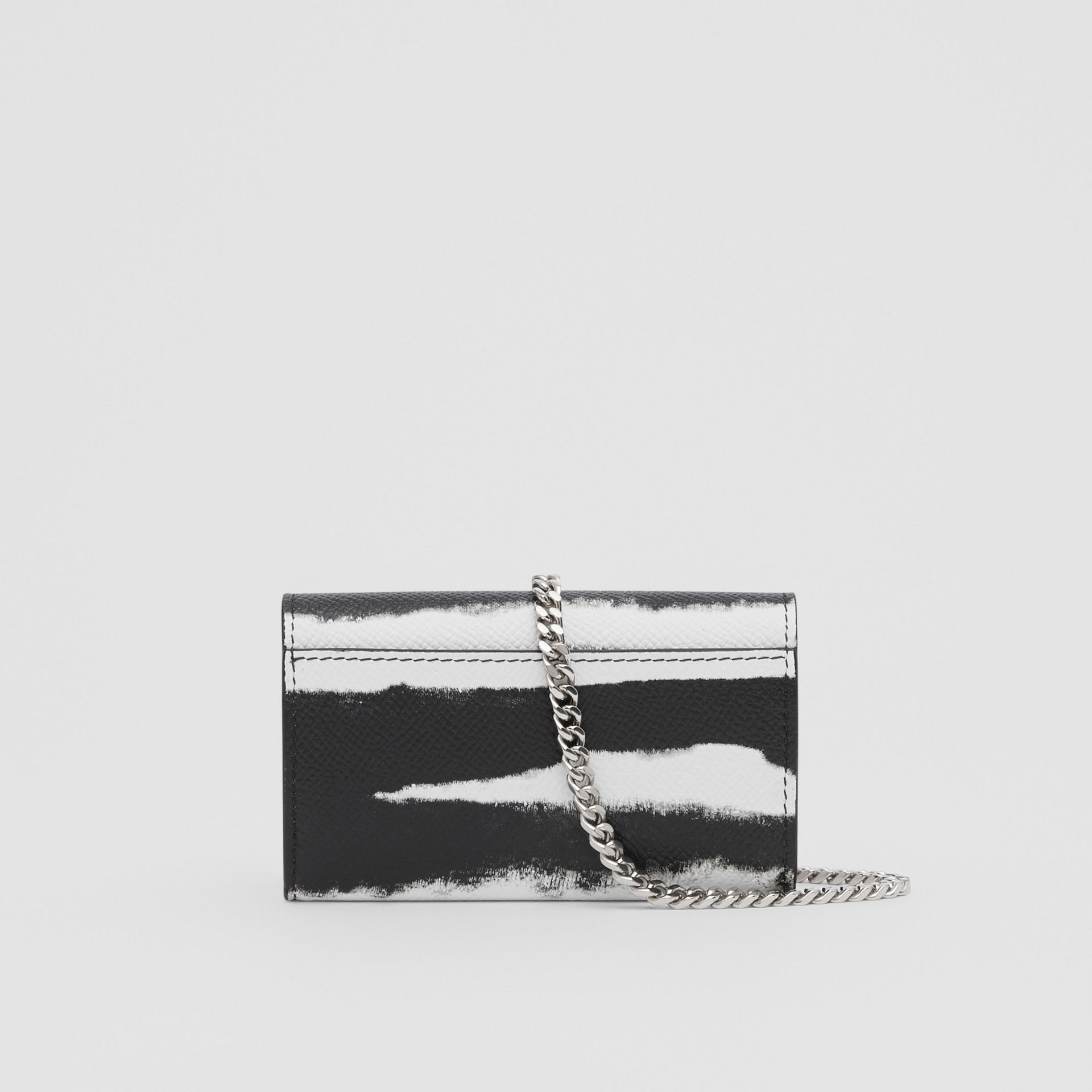 Small Watercolour Print Wallet with Detachable Strap in Black/white | Burberry - gallery image 9