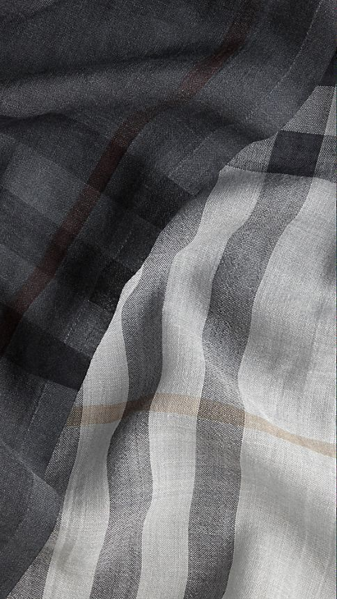 Ivory check Lightweight Check Ombre Wool Silk Scarf - Image 5