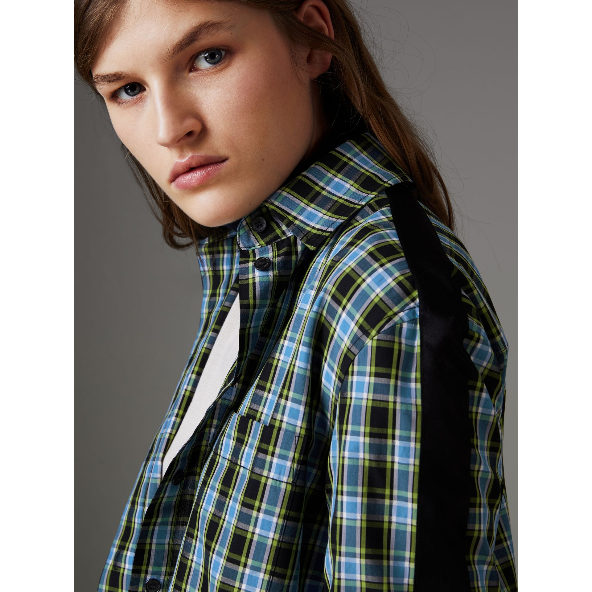 Stripe Detail Check Cotton Silk Shirt in Azure Blue - Women | Burberry Singapore - gallery image 4