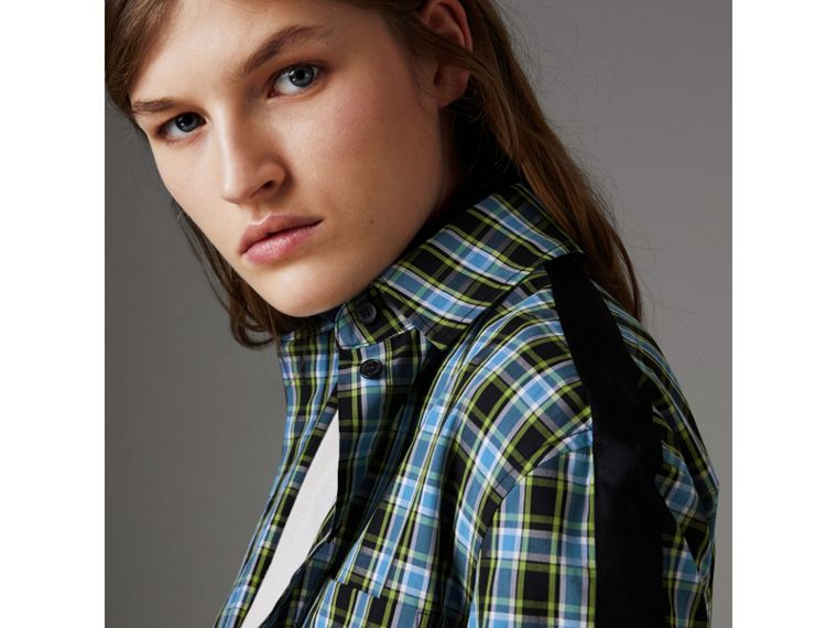Stripe Detail Check Cotton Silk Shirt in Azure Blue - Women | Burberry Singapore - cell image 4