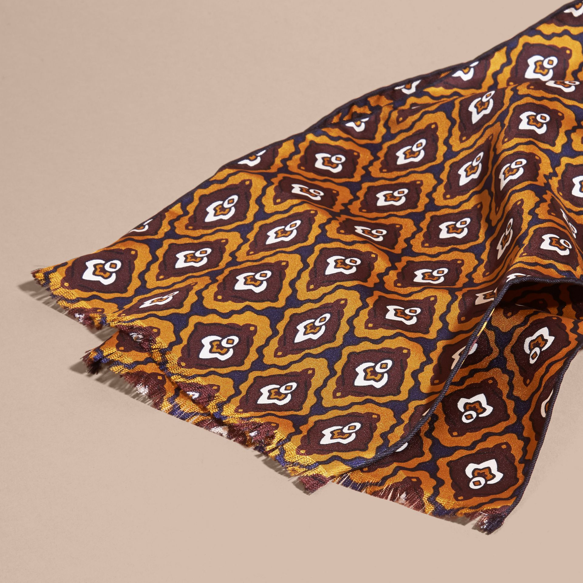 Umber yellow Tie-inspired Print Silk Scarf - gallery image 2