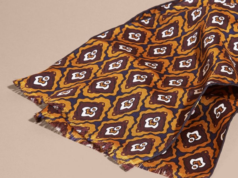 Umber yellow Tie-inspired Print Silk Scarf - cell image 1