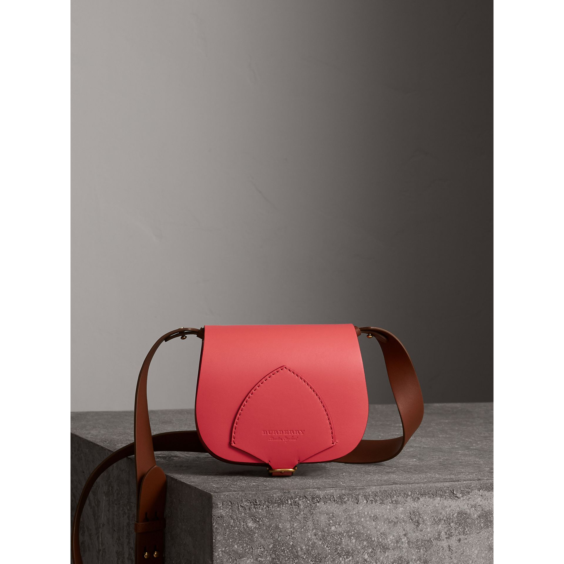 The Satchel in Leather in Bright Peony - Women | Burberry - gallery image 0