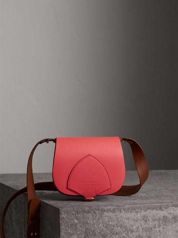 The Satchel in Leather in Bright Peony