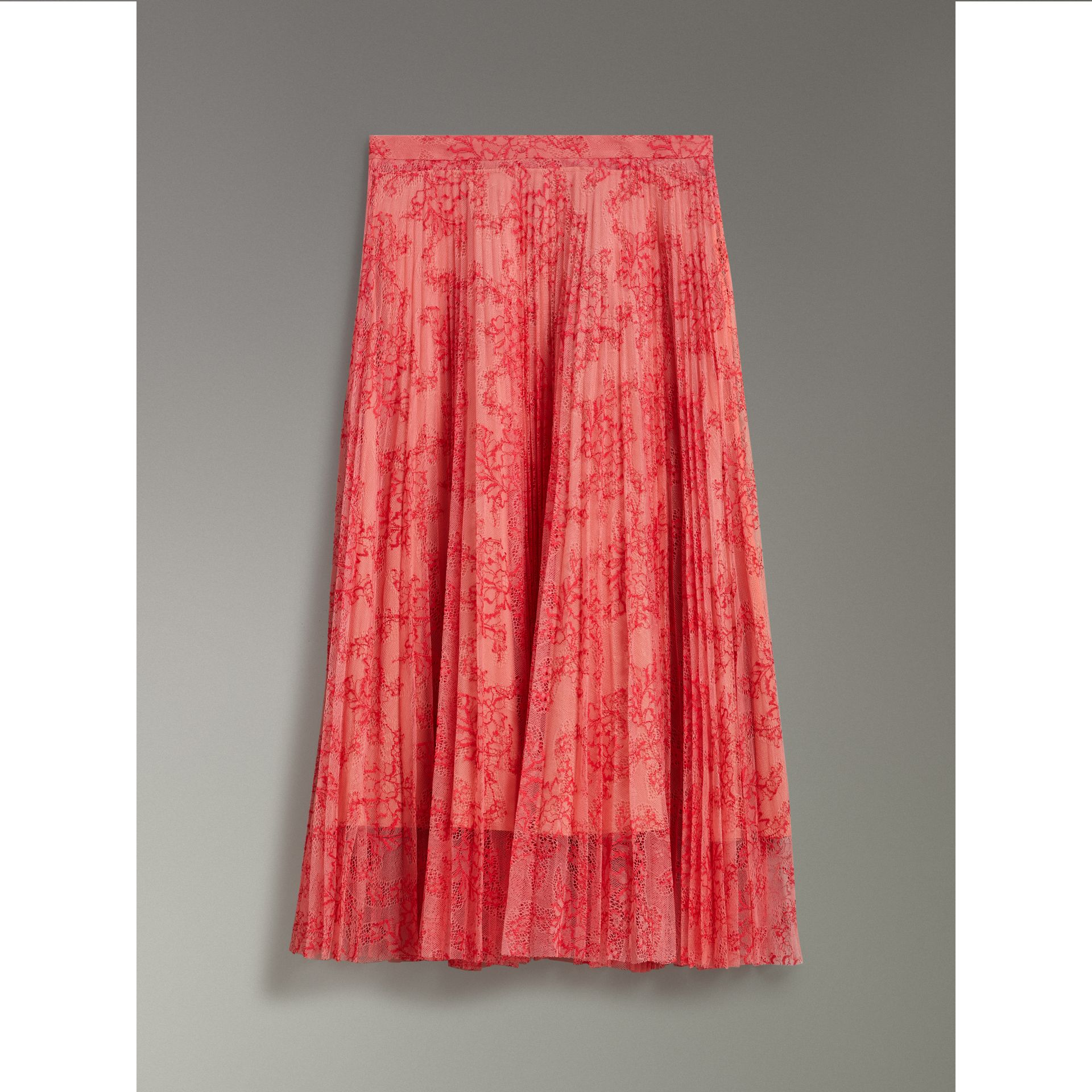 Pleated Lace Skirt in Pale Apricot/coral - Women | Burberry - gallery image 2