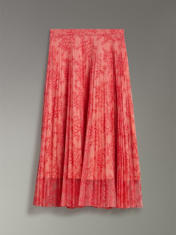Pleated Lace Skirt in Pale Apricot/coral - Women | Burberry - cell image 2